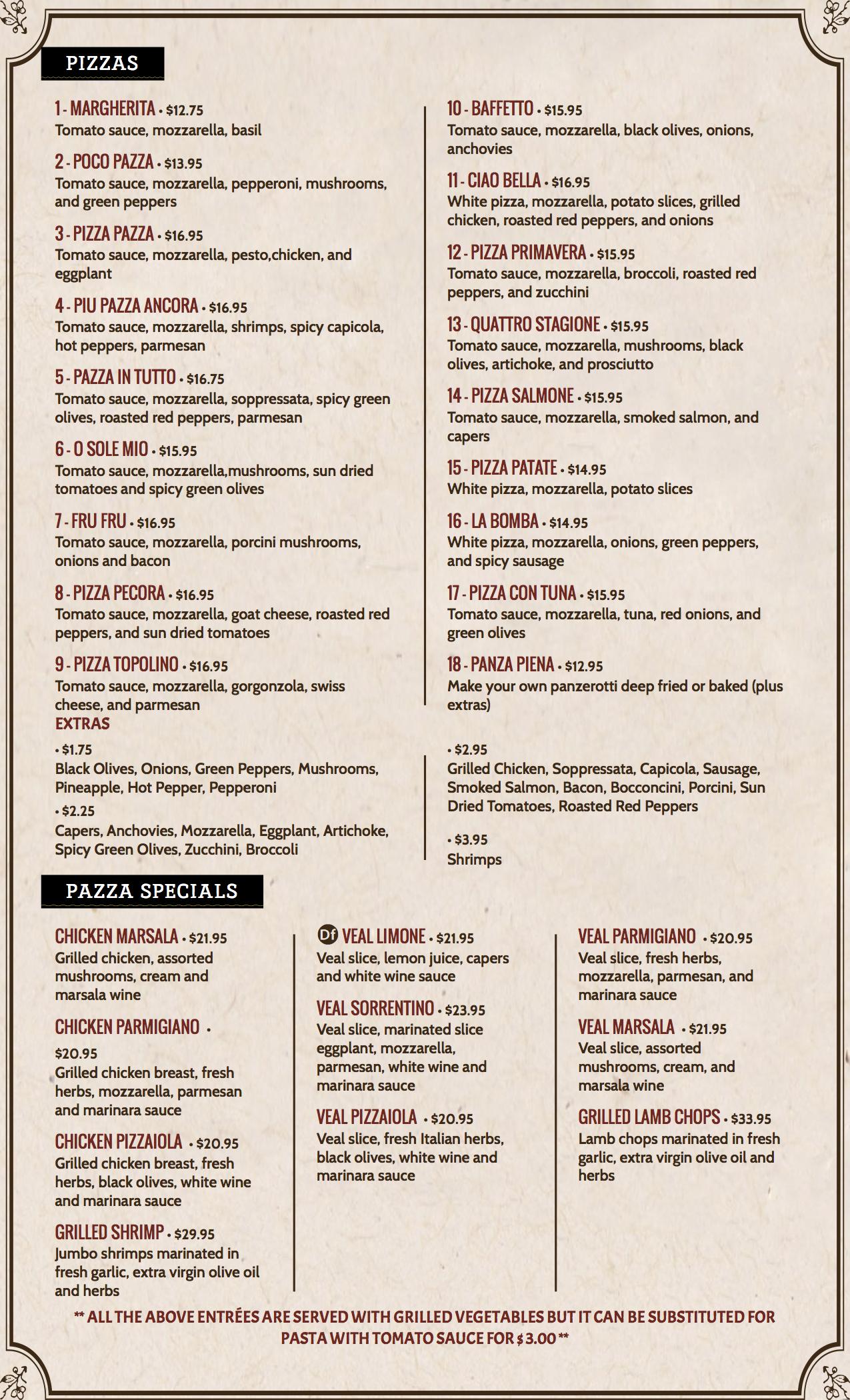 ciao bella menu